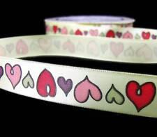 "2 Yds Valentine Fancy Pants Whimsical Hearts Satin Ribbon 5/8""W"