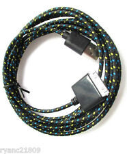BLACK 10FT 3M Fabric Braided USB Charging Data Sync Cable for iPhone 4 4S iPods