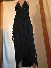 CUSTOM HAND MADE BLACK LONG HALTER EMPIRE FORMAL EVENING COCKTAIL DRESS S -M NEW
