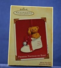 2003 Hallmark Ornament PRIMERA NAVIDAD DE BEBE Bear In Baby Shoe Porcelain NEW