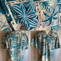 Rare VTG Royal Creations Made Hawaii Hawaiian Shirt M Tiki Aloha Blueprint Party