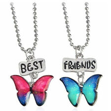 Friendship Two Girls Fashion Butterflies Pendant Necklaces Gift for Friend N546