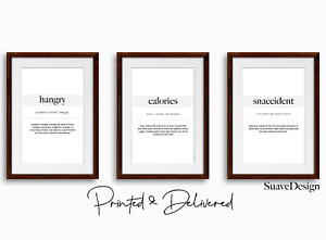 Kitchen Prints Set of 3x Definitions Hangry Snaccident Calories Arts Minimalist