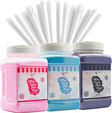 The Candery Cotton Candy Floss Sugar 3 Pack Includes 100 Premium Cones 3 Pack