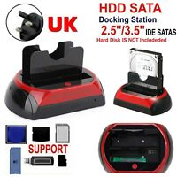 "ALL in One HDD Docking/Dock Station HD Dual Bay USB to SATA IDE 2.5"" 3.5"" UK"