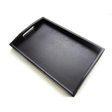 Large Black Wood Serving Tray Dish Hotel Wooden Tea Breakfast Serving Trays #OP