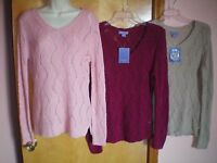 NWT NEW womens fuchsia pink khaki LAURA ASHLEY v-neck tunic sweater $36 retail