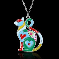 Lovely Animal Cat Printing Pattern Pendant Necklace Women Sweater Chain Jewelry