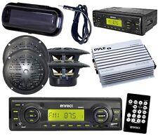 "Enrock Black Boat Radio 4 4"" Round Speakers w/Antenna Amplifier Cover Remote Kit"