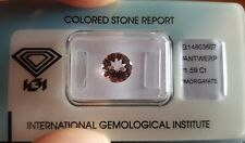 IGI Certified 1.59 carat Natural Transparent Round Mixed Cut Morganite