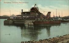 Panama Canal Construction Machinery Dredge Ships c1910 Postcard