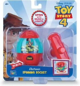 Thinkway Disney Toy Story 4 Electronic Music Light Spinning Woody Rocket - Red