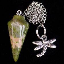 Natural Unakite Gem Pendulum&Tibetan Silver Dragonfly Pendant Bead S74663