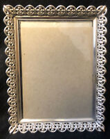 """Vintage Silver Tone Metal Picture Frame 7"""" by 5"""" Wall Frame Carr Craft"""