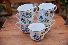 "Set of 7 Dolphin Fine China ""Medici"" Floral Cups - Made In Japan"