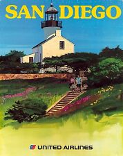 ORIGINAL Vintage Travel Poster UNITED AIRLINES San Diego POINT LOMA LIGHTHOUSE