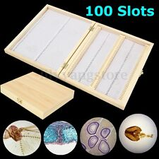 100 Slots Natural Wooden Microscope Slides Box Microscope Storage Holder Case