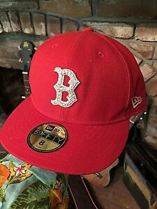 New Era Hat 59Fifty Boston Red Sox Ice Up Bling Rhinestone Cap hat red 8