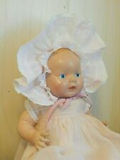 """Vintage Unmarked 12"""" Composition Painted Eye Baby Doll in Vintage Dress/Bonnet"""