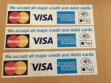 Card Payments accepted Contactless 3 Vinyl  Laminated Stickers Shop Taxi etc CP1