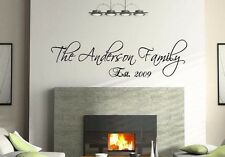 """36"""" Personalized Custom Family Name Wall Decal vinyl lettering quote Scriptina"""