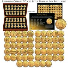 1999-2009 Complete 24K GOLD Clad State Quarters 56-Coin Set CherryWood Style Box