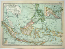 Original 1902 Map of the East India Islands by The Century Company. Antique