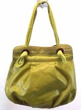 Fossil Women's Handbag, Green Canvas Plastic Coated Hobo Bag, Purse,XL Purse