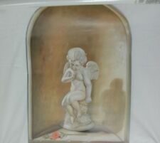 HOME SENSATIONS #8332 TROMPE L'OEIL WALL DECOR MURAL 24X36 CHERUB ANGEL NEW NIOB