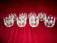 set of 8 Vintage Bar Glasses Trees Fall Winter 3 dimensional  NICE !