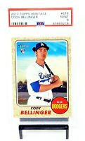 2017 Topps Heritage RC Dodgers CODY BELLINGER Rookie Baseball Card PSA 9 MINT