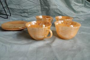 "Vintage Fire-King Lustreware  3 ""Laurel"" Cups / 2 Peach Lustre Saucer & 1 Cup"