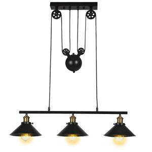 Industrial Pendant Light  Adjustable Pulley Vintage Ceiling Light Chandelier