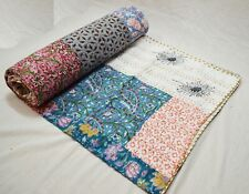 100%Cotton Indian Applique Queen Bedspread Multi Patchwork Kantha Quilt Coverlet