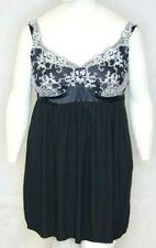 Soma Women's Empire Waist Black/white Lace Spaghetti Strap Nightgown Size XXL