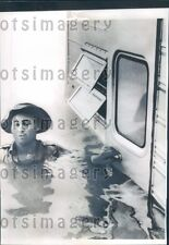 1960 Houston Texas Man in Floodwater up to Shoulders Press Photo