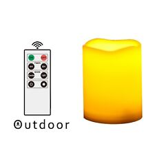 Outdoor Indoor Flameless LED Battery Operated Pillar Candle with Remote & Timer