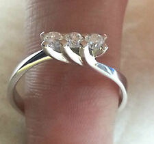 Anillo De Oro Blanco 18 ct Trilogy Diamantes 0,45 Quilates f color vvs2 Mujer