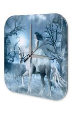 Wall Clock Fantasy Gothic Fairy Unicorn Snow Decorative Acrylglass