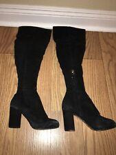 Top Shop Womens Boots High Heel Over Knee Black Suede Size 6 Us