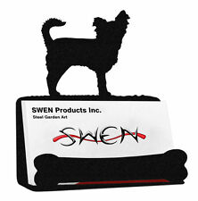 SWEN Products LONG HAIR CHIHUAHUA Dog Black Metal Business Card Holder