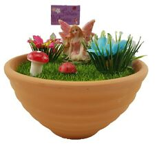 Fairy Welcome Cute Well Wishes Pot Ornament Mushroom Flowers Home Garden *12 cm*