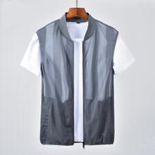 Men Strip Mesh Gilet See-through Sleeveless Jacket Waistcoat Vest Tops Shirt Tee