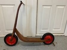 Vintage 1960's Radio Flyer Pressed Metal Push Scooter Foot Break Kickstand Bikes