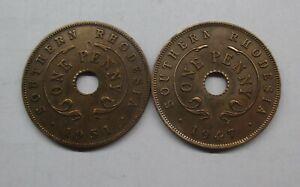 SOUTHERN RHODESIA ZIMBABWE 2 x PENNY 1947 & 1951 GEORGE VI #6446#