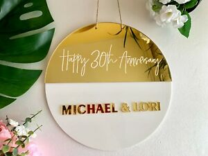 Personalized Anniversary Round Sign Custom Wedding Plaque Backdrop Couples Gift