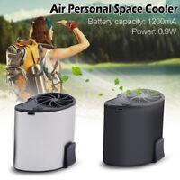 AU_ IC- Portable USB Waist Clip Hanging Mini Mobile Air Cooling Fan Handsfree Ou