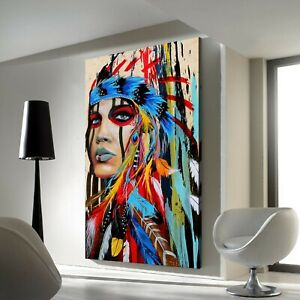 Abstract Modern Printing Indian Art Framed Canvas Print Wall Home Decor