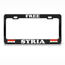 FREE SYRIA FLAG SYRIAN Heavy Duty Black License Plate Frame Metal Tag Border