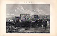 1880 Stampa ~Philae~ Temple Di Iisis &c Fiume Nilo Egitto